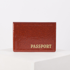 Passport cover, 13,5*0,5*9,5, horizon, Latin letters, Glitter, red