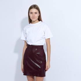 "Skirt women's MINAKU ""Leather look"", mini length, size 44, color Burgundy"