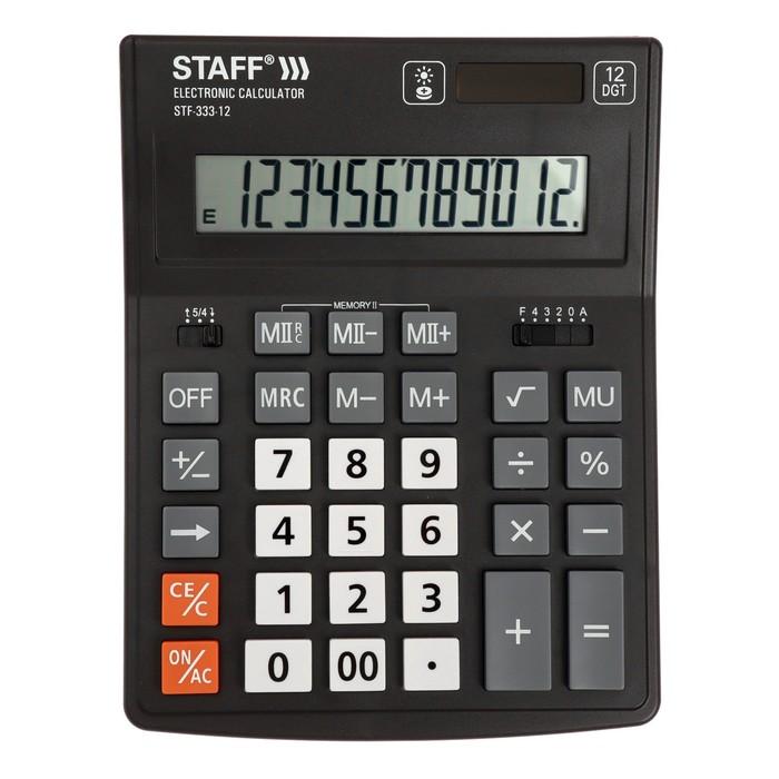 Калькулятор настольный 12-разр STAFF PLUS STF-333, 2-е питание 250415