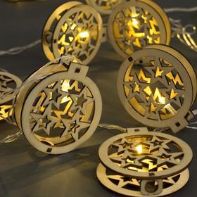 """Гирлянда """"Нить"""" 4.5 м с деревянными насадками """"Шар и звёзды"""", IP20, прозрачная нить, 20 LED, свечение тёплое белое, фиксинг, 220 В"""