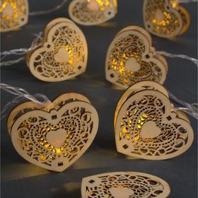 """Гирлянда """"Нить"""" 4.5 м с деревянными насадками """"Сердце"""", IP20, прозрачная нить, 20 LED, свечение тёплое белое, фиксинг, 220 В"""