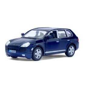 Metal car Porsche Cayenne Turbo, scale 1:38, doors open, inertia, color blue