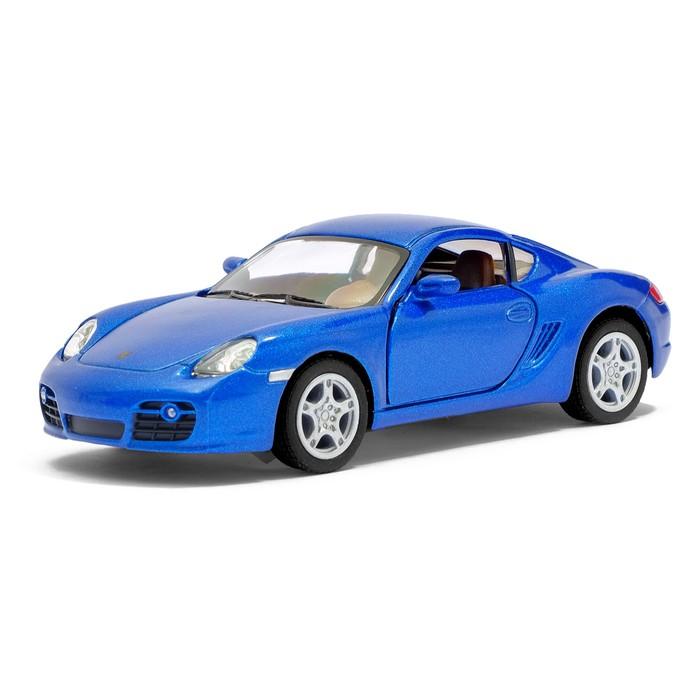 Машина металлическая Porsche Cayman S, масштаб 1:34, открываются двери, инерция, цвет синий - фото 105651232