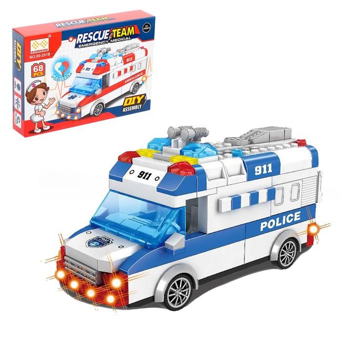 Конструктор блочный инерционный «Полицейский фургон», свет, звук, 77 деталей