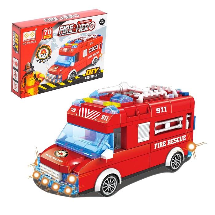 Конструктор блочный инерционный «Пожарный фургон», свет, звук, 70 деталей