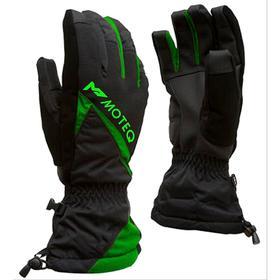 Зимние перчатки СНЕЖОК чёрный, зелёный, M