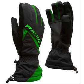 Зимние перчатки СНЕЖОК чёрный, зелёный, XL
