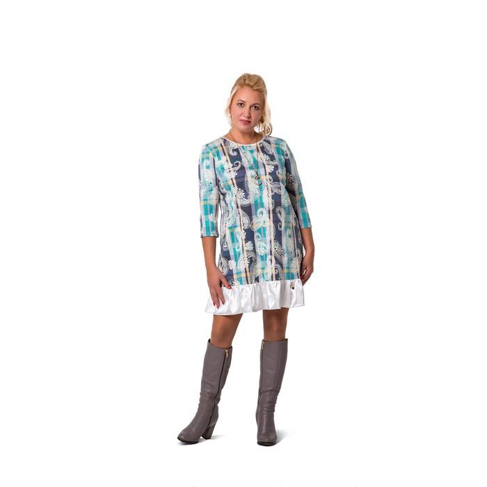 Платье женское, с атласной оборкой, размер 54 - фото 2133816