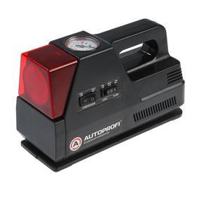 Компрессор автомобильный AUTOPROFI, в кейсе, 12 В, 14 A, 80 Вт, 7 Атм, 12 л./мин, шланг 0.5 м, сигнальный фонарь, 3 переходника