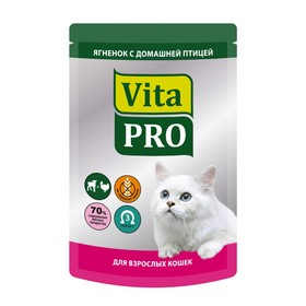 """Влажный корм VitaPro """"Мясное меню""""для кошек, ягненок/птица, пауч, 100 г"""