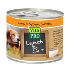 Влажный корм VitaPro LUNCH для собак,  дичь/рис, ж/б, 200 г