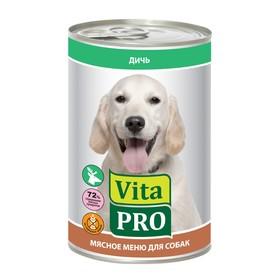 """Влажный корм VitaPro """"Мясное меню"""" для собак, дичь, ж/б, 400 г"""