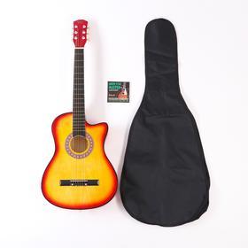 Набор для начинающего гитариста, санберст: акустическая гитара, чехол, струны, медиаторы