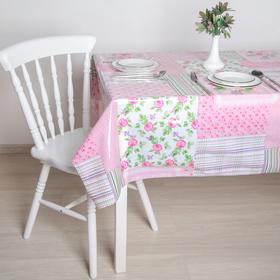"""Клеёнка ПВХ """"Пионы"""", ширина 137 см, толщина 0,07 мм, рулон 30 метров, цвет розовый"""