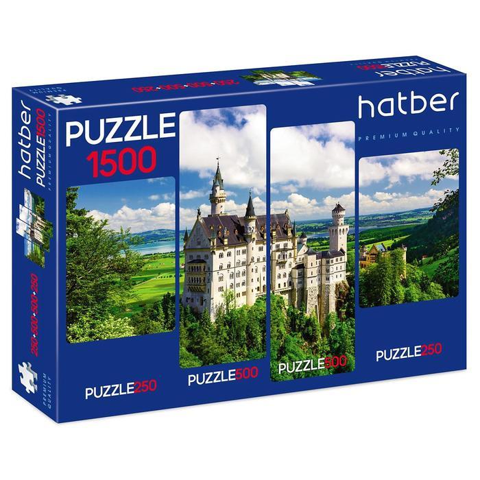Пазл 250+500+500+250 элементов «Замок в горах», 4 картинки в 1 коробке
