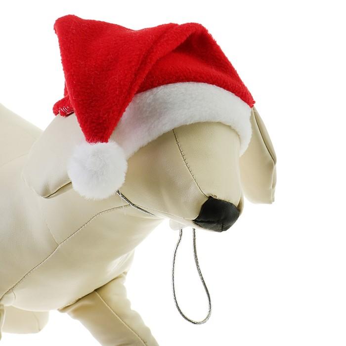 Колпак новогодний для собак, размер L-XL, высота 21 см, обхват головы 32 см