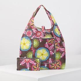 Bag utility folding Flowers 34*5*32 cm, Department button, brown