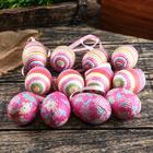 """Декор пасхальный подвеска """"Полоски и цветы"""" набор 12 шт яйцо 4х6 см"""