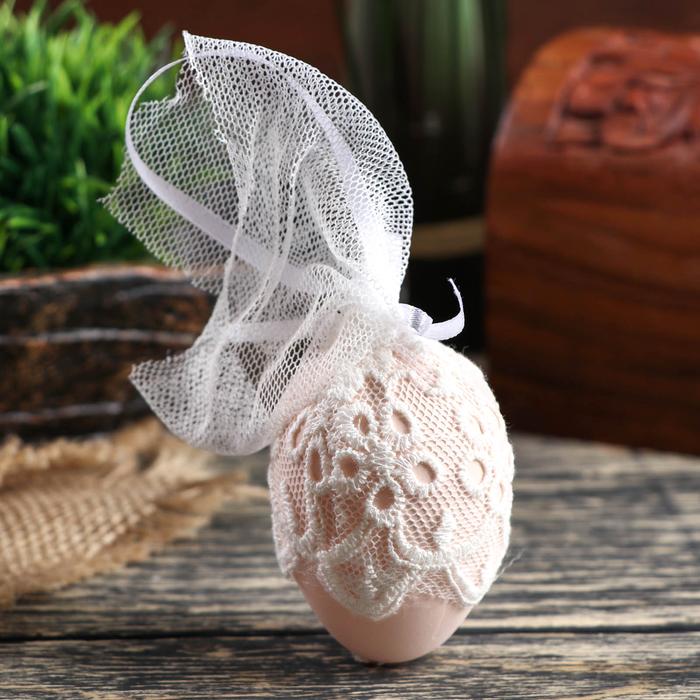 """Декор пасхальный подвеска """"Куриное яичко в кружеве"""" набор 6 шт яйцо 4х6 см"""