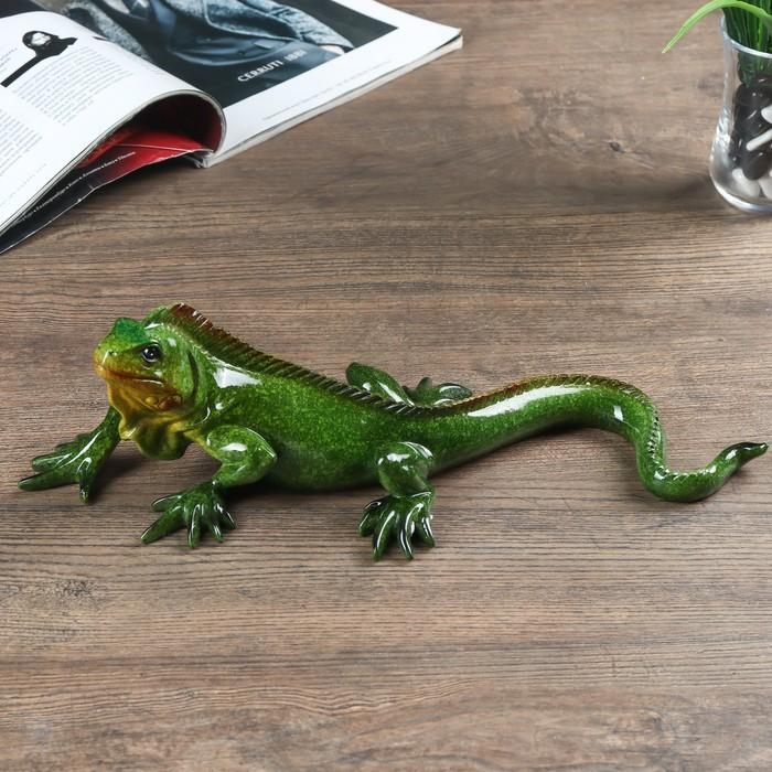 """Сувенир полистоун лак """"Зелёная игуана"""" 9,5х32х13,5 см"""