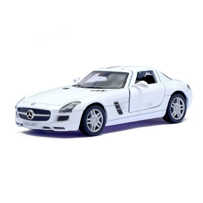 Машина металлическая Mercedes-Benz SLS AMG, масштаб 1:36, открываются двери, инерция, цвет белый - фото 105651243