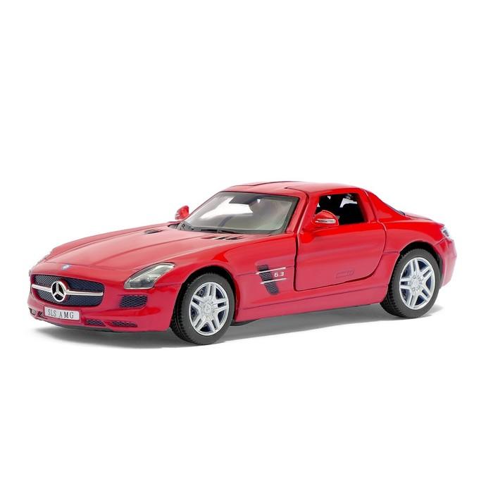 Машина металлическая Mercedes-Benz SLS AMG, масштаб 1:36, открываются двери, инерция, цвет бордовый - фото 105651247