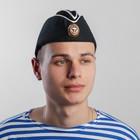 Пилотка ВМФ с белым кантом и кокардой, хлопок 100%, р. 58, цвет чёрный