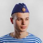 Пилотка ВВС с голубым кантом и кокардой, хлопок 100%, р. 58, цвет синий