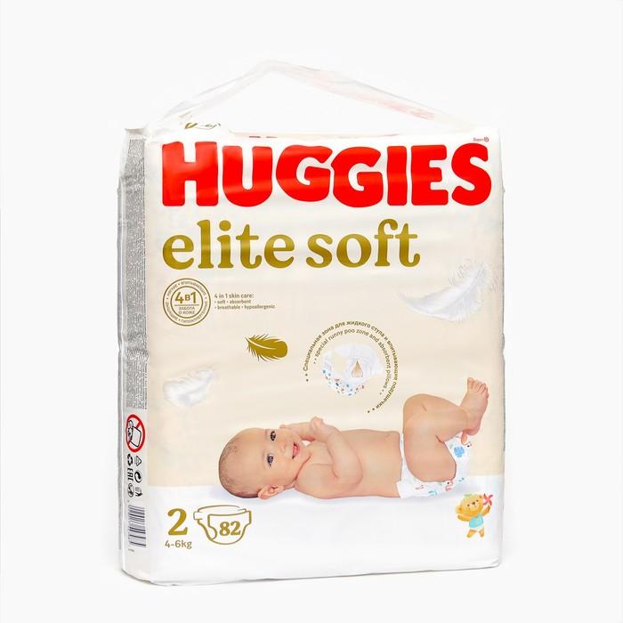 """Подгузники """"Huggies"""" Elite Soft 2, 3-6кг, 82 шт"""