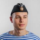 Пилотка ВМФ с белым кантом и кокардой, хлопок 100%, р. 56, цвет чёрный