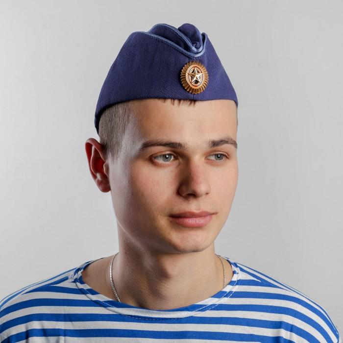 Пилотка ВВС с голубым кантом и кокардой, хлопок 100%, р. 56, цвет синий