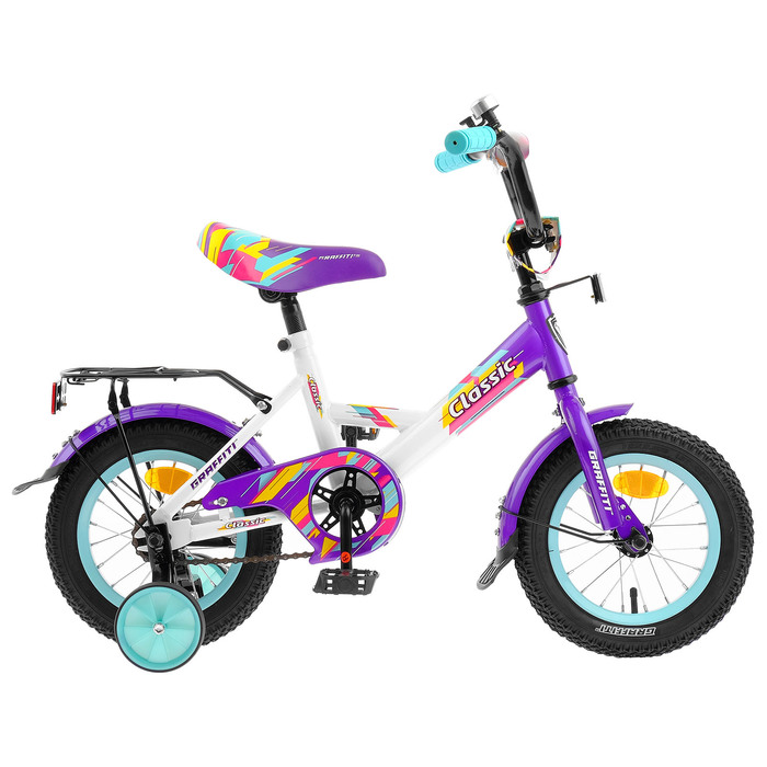 """Велосипед 12"""" Graffiti Classic RUS, 2019, цвет белый/фиолетовый"""