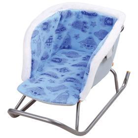 Сиденье для санок с мехом универсальное, принт с ракетами, цвет голубой