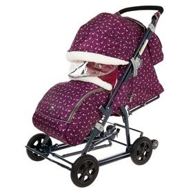 Санки-коляска «Ника Детям НД8-1К», колёса с камерой, принт с фламинго, цвет сливовый