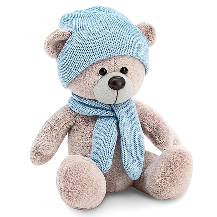 Мягкая игрушка «Медведь Топтыжкин», шапка, шарф, цвет серый, 17 см - фото 4467646