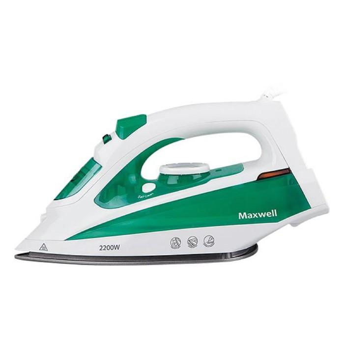 Утюг Maxwell MW-3036 G, 2200 Вт, антипригарное покрытие, 280 мл, бело-зелёный