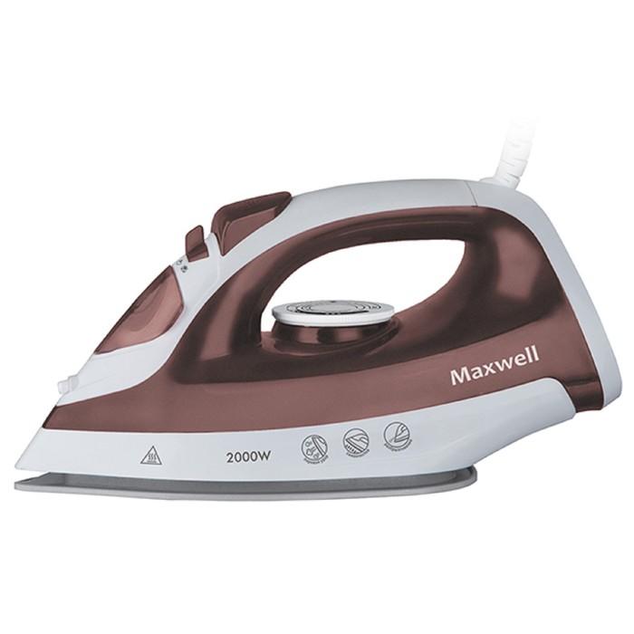 Утюг Maxwell MW-3051 BN, 2000 Вт, антипригарное покрытие, бело-коричневый