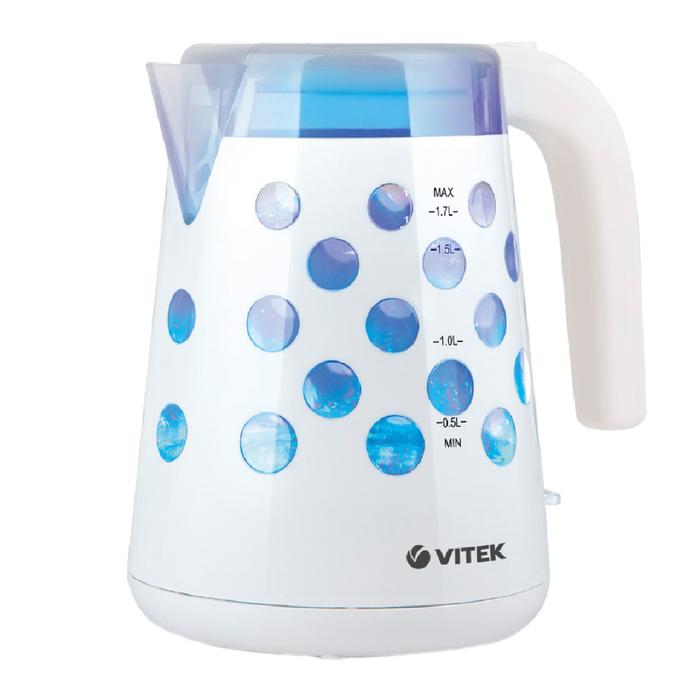 Чайник Vitek VT-7048 W, 2200 Вт, 1.7 л, подсветка, пластик, белый