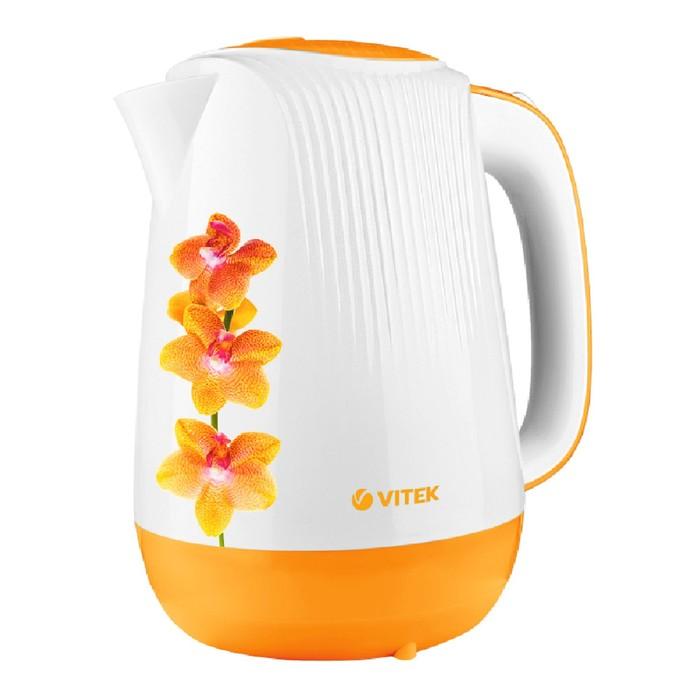 Чайник Vitek VT-7060 OG, 2200 Вт, 1.7 л, подсветка, пластик, оранжевый