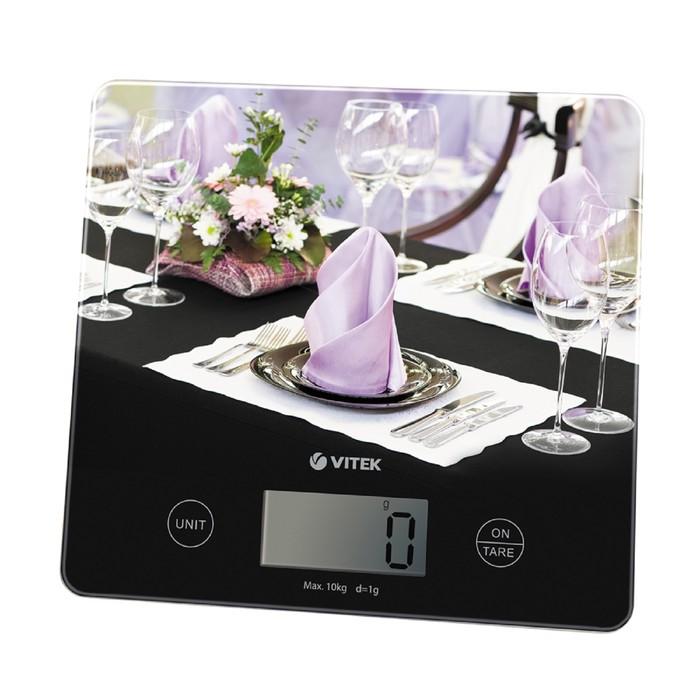 Весы кухонные Vitek VT-8024 BK, электронные, до 10 кг, чёрные