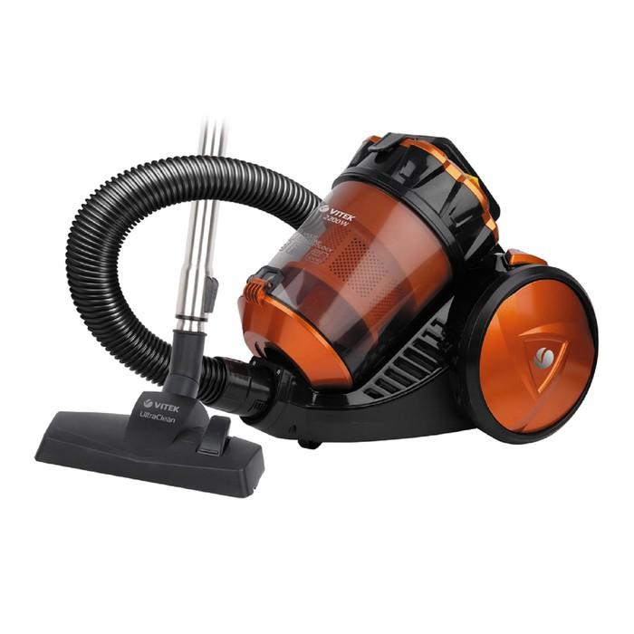 Пылесос Vitek VT-8135 OG, 2200 Вт, всасывание 400 Вт, 3 л, HEPA-фильтр, чёрно-оранжевый
