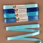 Набор атласных лент, 5 шт, размер 1 ленты: 12 мм × 5,4 ± 0,5 м, цвет голубой спектр