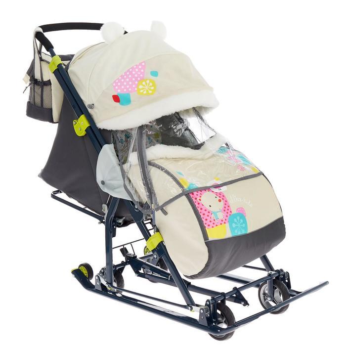 Санки коляска «Ника Детям НД 7-6», рисунок с медвежонком бежевый, механизм качания