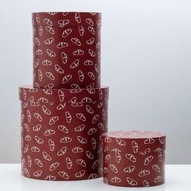 """Набор круглых коробок 3 в 1 """"Сердечки скрепочки"""", 30 х 30 х 30 - 20 х 20 х 15 см"""