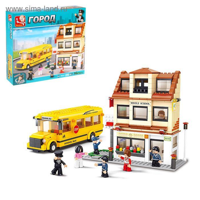 Конструктор «Автобус школьный + школа», 496 деталей