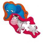Магнитный пазл «Слоник и зебрик» 2 картинки