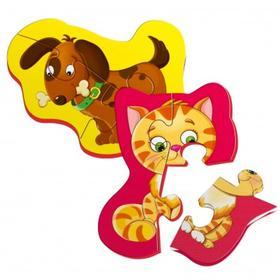 Магнитный пазл «Котёнок и щенок», 2 картинки