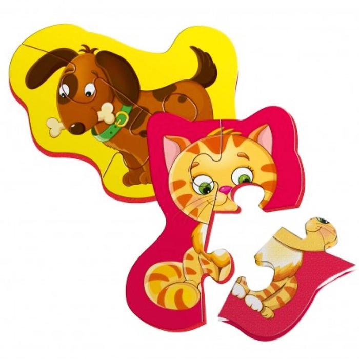 """Магнитный пазл """"Котенок и щенок"""" 2 картинки VT3208-06"""