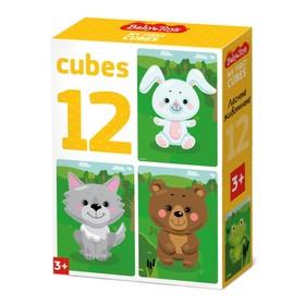 Кубики 12 шт. «Лесные животные» 03538