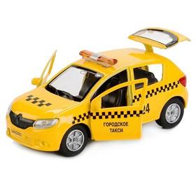 Машина металл «Renault Sandero такси» 12см, открываются двери, инерционная
